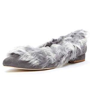 Jeffrey Campbell Yanna Faux Fur Flats, New, 8.5